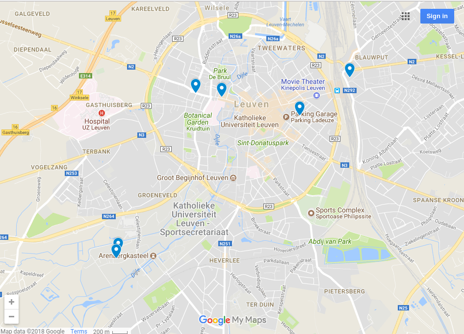 Map of hostels in Leuven